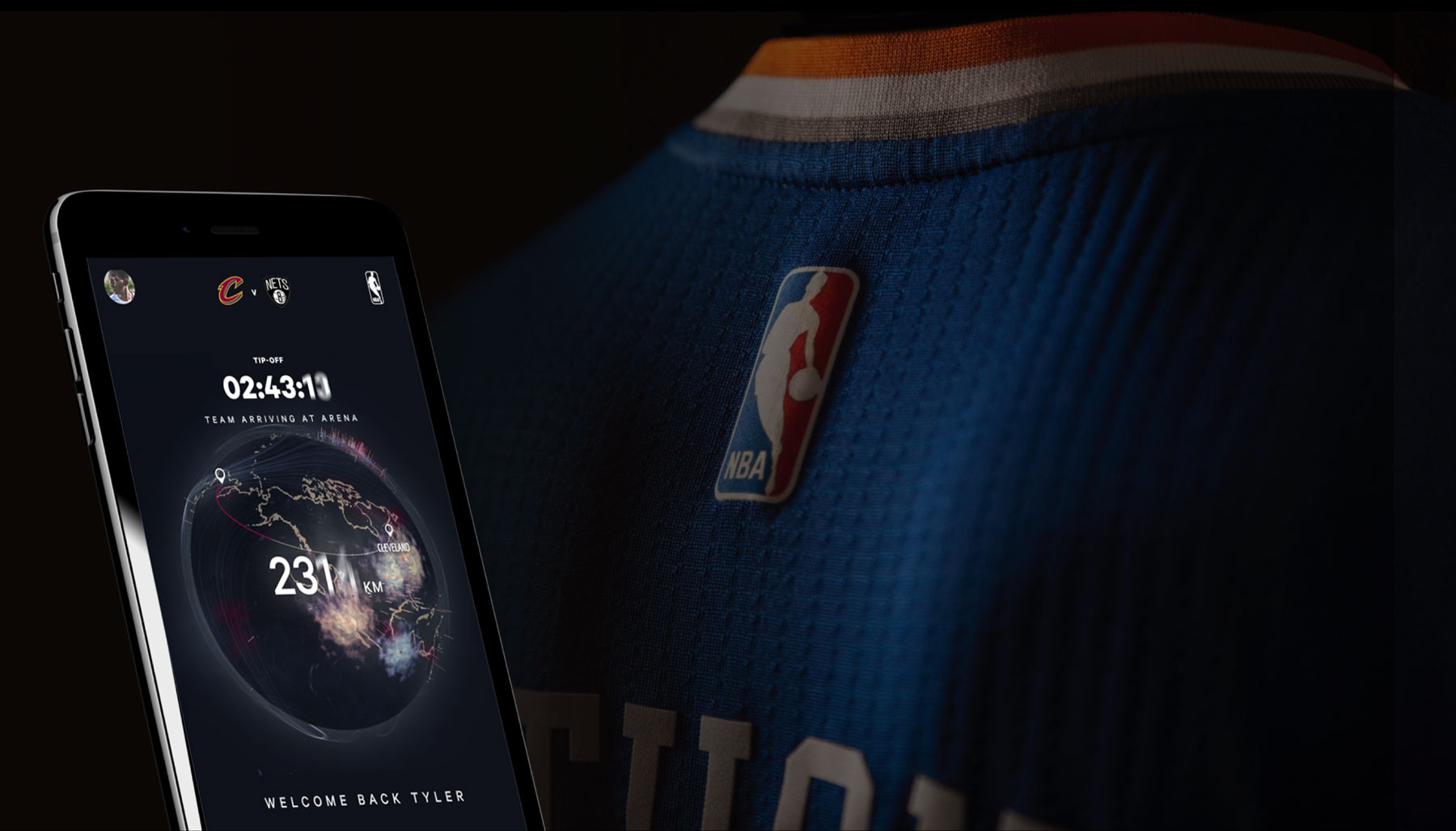 A phone with a digital experience is shown next to a NBA jersey.