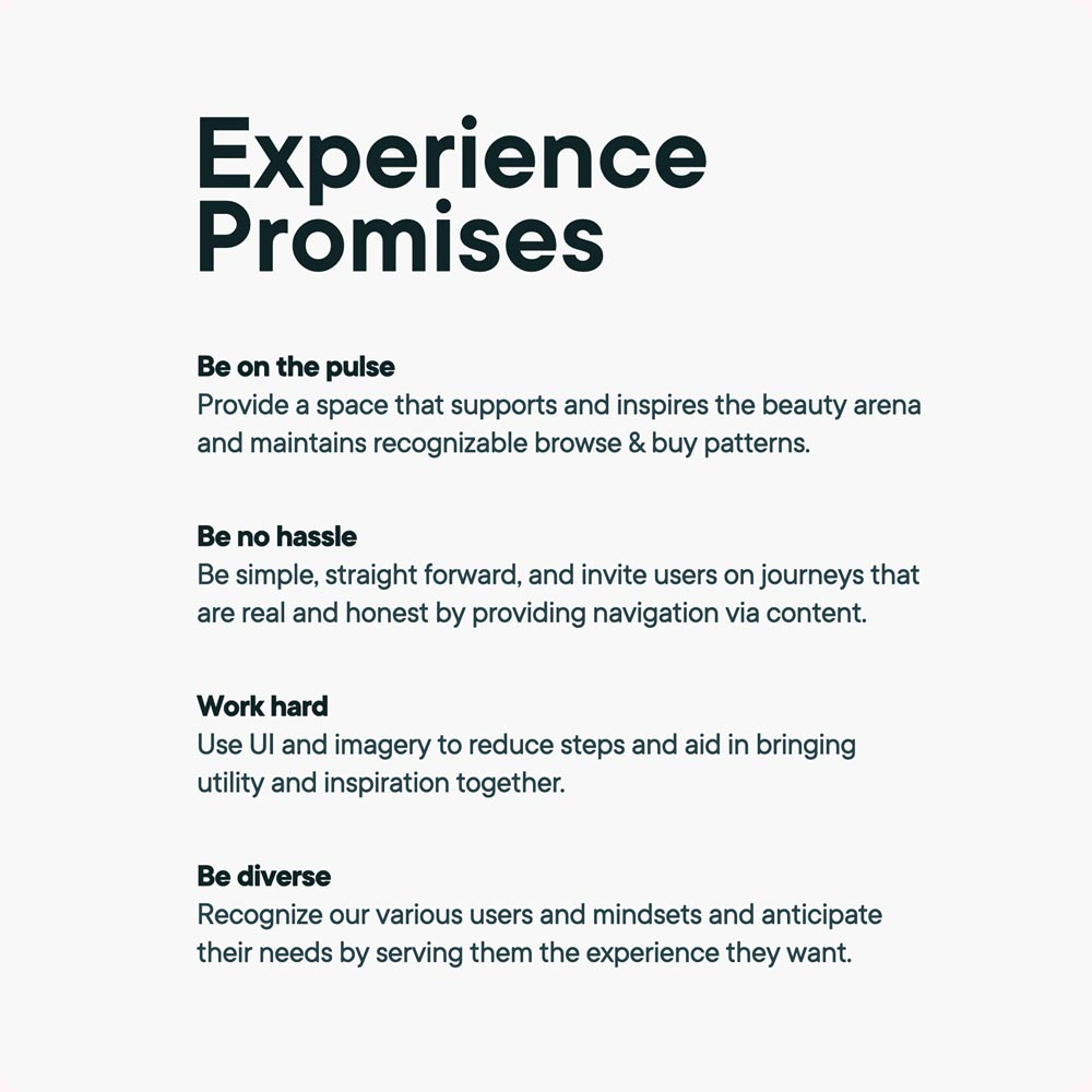 Experience promises are a reminder what the site should deliver to users