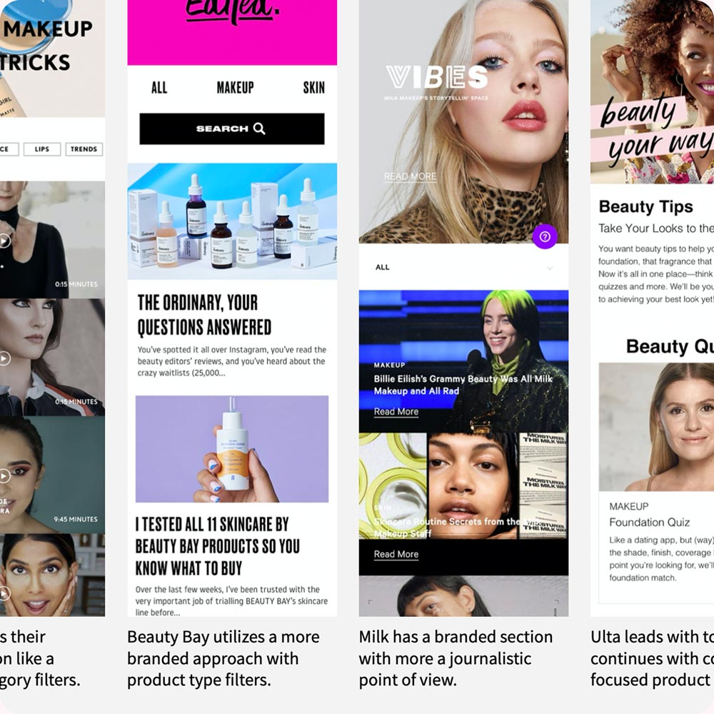 Screenshots of beauty websites with expereince call outs