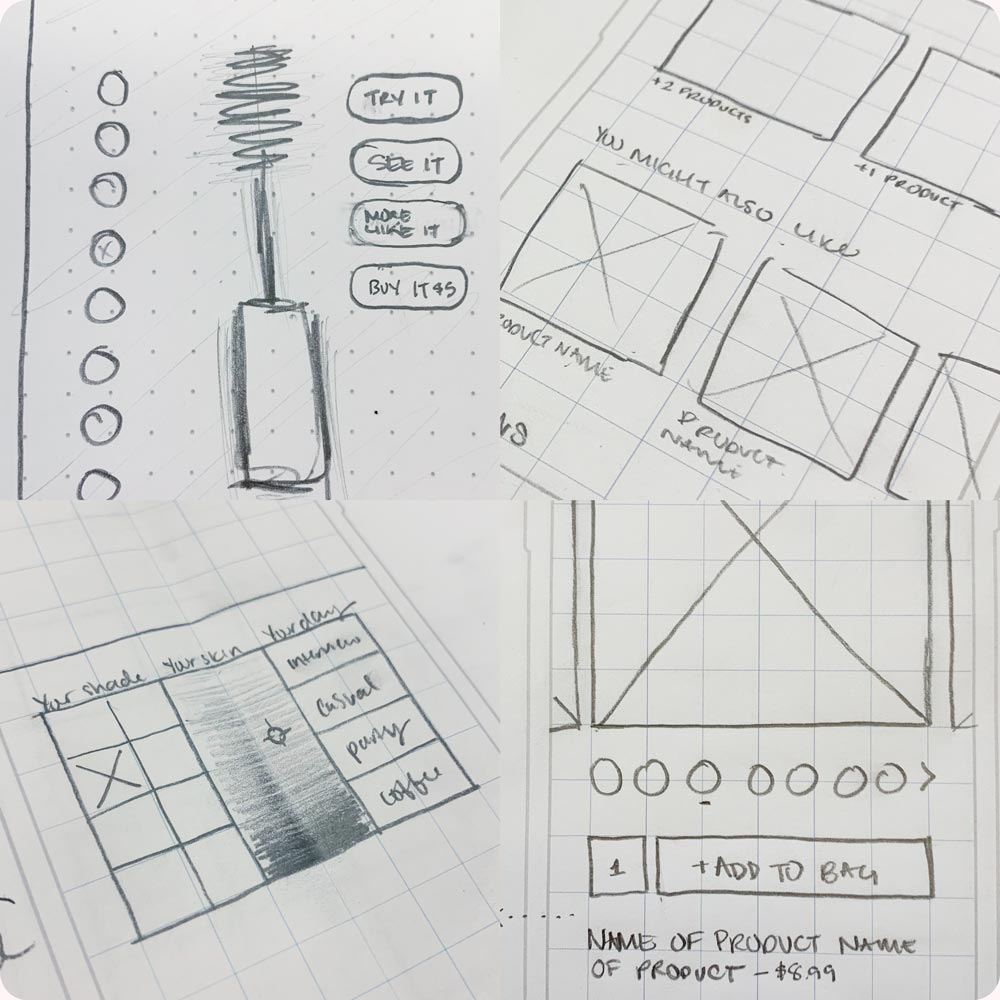 Images of sketches for digital design ideas